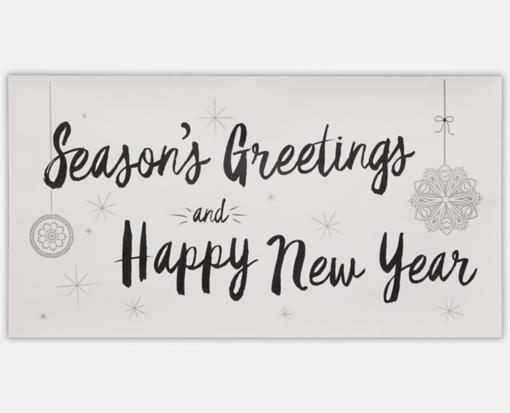 Seasons Greetings & Happy New Year on White - PrintEarly.com ...
