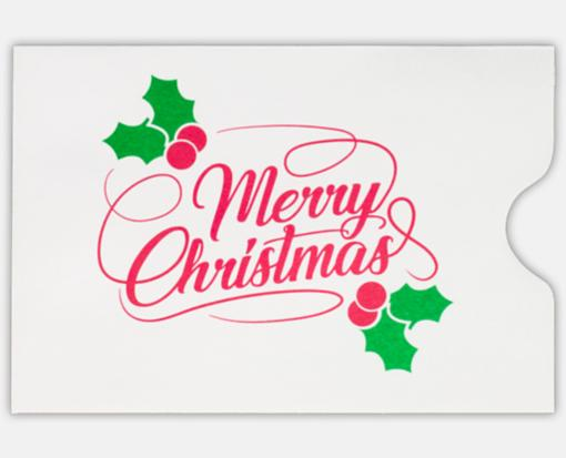 Merry Christmas on White – Credit Card Sleeve (2 3/8 x 3 1/2)