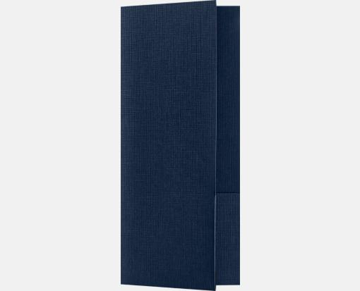 Dark Blue Linen – Mini Folders Two Pockets (4 x 9 )
