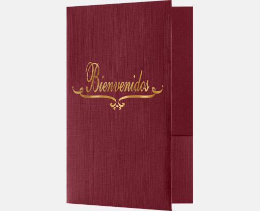 Burgundy Linen – Bienvenidos Welcome Folders – Standard Two Pockets