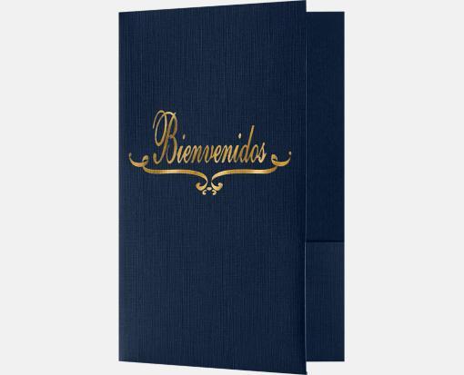 Dark Blue Linen – Bienvenidos Welcome Folders – Standard Two Pockets
