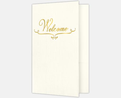 Natural Ivory Linen w/ Gold Foil – Welcome Folders – Standard Two Pockets