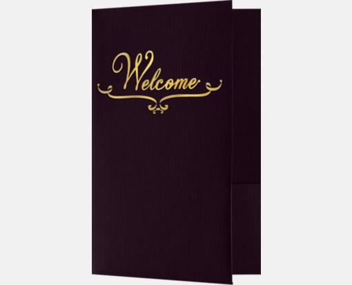 Dark Purple Linen w/ Gold Foil – Welcome Folders – Standard Two Pockets