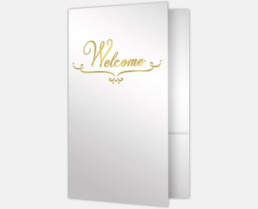 Bright White Gloss w/ Gold Foil – Welcome Folders – Standard Two Pockets